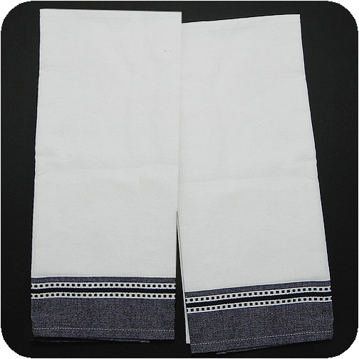 Dobby Border Kitchen Towel - White/Black