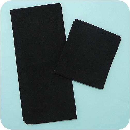 Solid Flat-Weave Kitchen Towel - Black